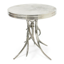Go Home - Go Home Vail Antler Table - Add a fresh, improvisational approach to your living space with this Vail antler metal table. The Vail antler metal table looks even more elegant with its 20 inch sleek aluminum table top and 22.5 inch tall stature in natural finish. This vial antler metal table will work wonderfully in modern spaces of stripe from industrial to lodge, eclectic to exotic.
