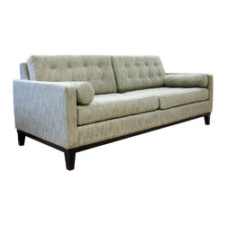 None - Centennial Microfiber Sofa - Relax in comfort on this classic microfiber sofa. This sofa comes in neutral colors, so it matches perfectly with any color scheme, and the microfiber material makes it sturdy and easy to maintain. The button-tufted details add extra style.