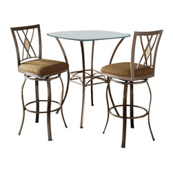 "Hillsdale - Hillsdale Brookside 3-Piece Bar Height Bistro Table Set with Diamond Stools - Hillsdale - Pub Sets - 4815PTBSDM3 - Hillsdale Furniture's versatile bistro collection features the panache of a pub with all comfort and convenience of full scale dining. This round bar height table is topped with a stunning 36"" glass top. The always in demand Brookside barstools are a lovely compliment to the this table as well."