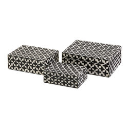 iMax - iMax Lizzie Bone Boxes - Set of 3 X-3-81991 - A set of three small decorative boxes made with bone inlay make the perfect desk, shelf or vanity accessory. White bone inlay with black cross pattern gives these boxes a simple decorative appeal. For a coordinated look, display with the Lizzie bone inlay photo frames.