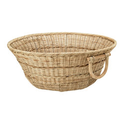 Large Open Rattan Floor Basket