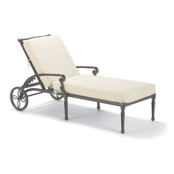 Frontgate - Carlisle Outdoor Chaise Lounge with Cushions in Gray Finish, Patio Furniture - Fine-furniture design. 100% ingot aluminum, a premium quality material. Hand-filed welds. Rich, multilayered slate finish with UV protected top coat. Adjusts to 5 positions. Our Carlisle Slate Chaise Lounge's impeccable, grandly scaled cast-aluminum frame is crafted to stand the test of time. Fine furniture details such as scrolling arms and crisscrossing back are in a rich, multilayered slate finish. Large rubber-tipped wheels roll smoothly over any surface. Premium 100% solution-dyed fabrics encase the seat and softly rounded back cushion. Part of the Carlisle Slate Collection.  .  .  .  .  . Back folds flat for lounging and storage . Cushions included . 100% solution-dyed and woven fabrics . All-weather cushions have a high-resiliency foam core wrapped in plush polyester . Cushion with Velcro ties . Cushions also available with 100% waterproof Sunbrella Rain performance fabric. Assembly required; view instructions.
