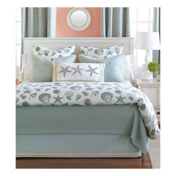 Shoreline Bedset - Sit back and chill out with tropical Shoreline. Splendid summer days in the sunniest of seaside resorts come alive with this marine pattern in relaxed teals and ivories. Detailed shells and starfish are straight off the beach and into the bedroom. Whether onshore or deep inland, Shoreline will take its cool ambiance wherever it goes. Bed sets start from $990.00 Available in a range of sizes from Daybed to Cal King. (Can be purchased as a set or as individual pieces. Call For more details)