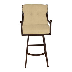 "Surf Side Patio - Mykonos Grande Swivel Bar stool, Tresco Linen, 24"" Counter Height - Accent your breakfast bar, home bar, tiki bar or patio with the hand crafted, wrought iron Mykonos Swivel Bar stool.  Made from thick guage, powder coated wrought iron, these gorgeous over sized bar stools swivel 360 degrees and bring a elegant touch to any area of your home, indoor or outdoor."