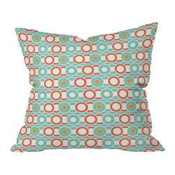 DENY Designs - Heather Dutton Ring A Ding Throw Pillow, 26x26x7 - Interlocking rings in a '60s color palette give this printed throw pillow a retro feel. For a swingin' look, toss it on the settee with a fur pillow and another contrasting print. Then pour yourself a martini and admire your work.