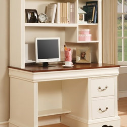 Winners Only - 2 Pc Louis Philippe Renaissance White Desk w - Includes hutch and desk. Three shelf hutch. Two drawer desk. Keyboard tray. Wood on wood glides. Available in additional finishes. Hutch: 50 in. W x 24 in. D x 30 in. H (80 lbs.). Desk: 50.5 in. W x 13 in. D x 38 in. H (130 lbs.)