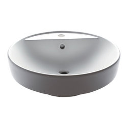 Eago - Ceramic Above Mount Round Bathroom Basin - Includes original EAGO logo of authenticity printed on the sink. High quality. Single hole for faucet. Rear center drain. Made from porcelain. White finish. 18.5 in. Dia. x 6.25 in. H (25 lbs.). WarrantyNo offering this top of the line brand of modern bathroom sinks. Join the latest fashion trend with EAGO's innovative line of green products and add a contemporary flair to your bathroom.
