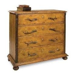 "Sarreid Ltd - Pine Chest of Drawers - This practical, yet stylish pine 4 drawer chest has authentic bone handles and bun feet. 46"" wide x 20"" deep x 41"" high (SAR)"