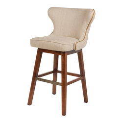 Four Hands - Elegant Swivel Barstool In Hyde Clay Finish - This Elegant Swivel Barstool is constructed of solid mahogany and upholstered with sophisticated leather and fabric. The four legged design is assisted with adjoining wooden chords to make a stable stand. The beaded details along the armrests, summarizes the artist's refined imagination. This stool is very elegant in terms of appearance while poised in terms of construction.