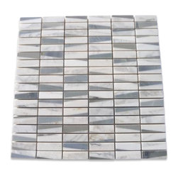 """GlassTileStore - Pier Ski Slope Marble Tile - Pier Ski Slope Marble Tile          This marble mosaic will provide endless design possibilities from contemporary to classic. It creates a great focal point to suit a variety of settings. The mesh backing not only simplifies installation, it also allows the tiles to be separated which adds to their design flexibility. The natural material will have a color variation. .          Chip Size: 1/2""""x2""""    Color: Blue-Gray, White and Gray    Material: Moonstone, White Carrera and White Thassos    Finish: Polished   Sold by the Sheet - each sheet measures 12x12 (1 sq. ft.)   Thickness: 8mm            - Glass Tile -"""