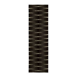 """Nourison - Nourison Moda MOD04 2'3"""" x 8' Onyx Area Rug 05459 - Taste makers will want to set foot on this ultra modern design conceived in the deepest tones of rich onyx black. Crossbars of light create columns of movement that flicker across the surface. The dense pile adds another element of pure pleasure for a rug that is """"simply gorgeous""""."""