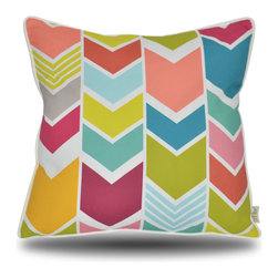 Yellow Boat Pillow Company - Angela Pillow - Bright, vibrant multi-color chevron pattern is instant pop of color and fun!  18x18 inches with fabric covered edge trim. Solid white back. Luxurious feather/down insert included.  Exceptional fabric provides perfect high quality compliment to your furniture!  Removable cover with hidden zipper closure.  Linen cotton.  Made in the USA.