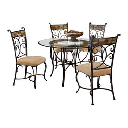 "Hillsdale Furniture - Slate Mosaic Dinette Set with Four Dining Cha - Bring your dining room to life with this beautiful set, which includes an artistic table and four attractive chairs. The frames are all gracefully curved metal with a black gold finish, and the look of elegance and style is completed with a design of colorful mosaic which is set into the back rest of each chair and under the shining glass surface of the table. Do you want to wow your guests with something truly unique? Then consider this slate dining set featuring mosaic-backed chairs. Matching metal supports the soft plush upholstery on the chairs, and the chair backs feature an elegant swirling pattern. * For residential use. Do you want to wow your guests with something truly unique? Then consider this slate dining set featuring mosaic-backed chairs.. Curved metal legs finished in a charming slate finish support the glass on the tabletop.. Matching metal supports the soft plush upholstery on the chairs, and the chair backs feature an elegant swirling pattern.. 5 Piece Dining Set w Table & 4 Fixed Chairs. Components: Metal Dining Table - hd-4442-810-811; Dining Chairs - hd-4442-802 (4). Table: 30H x 31.5W x 31.5D - 48"" Diameter. Chairs: 40.25H x 18.2W x 22.5D"