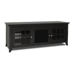 Tech Craft - Veneto 60-Inch LCD TV Cabinet in Black w Conc - Entertain a smart, functional look for your media room. Spacious, stylish LCD TV cabinet has a center concealed storage area for movies, music and more. 2 glass pane doors flank the center, while short flared legs show refined lines. A rich black stain adds ideal finishing touch. 60 in. Wide black credenza fits most 60 in. and smaller flat panels. Convenient wire management cutouts provided. Beautiful framed doors to conceal your components. Center channel slot provided. Adjustable shelves and ample room for component storage. 59.88 in. W x 19.75 in. D x 22.38 in. H
