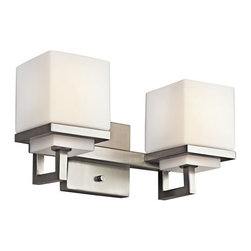 Kichler - Metro Park Brushed Nickel Two-Light Bath Fixture - -Etched opal glass. Kichler - 45138NI