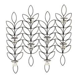 Elements - Elements 24-inch Metal Leaf 8-tealight Sconce - Light up a long hallway or entryway with this set of four simple leaf sconces. Add up to eight tea light candles to the heat-proof glass cups for plenty of illumination. The abstract leaf pattern brings a hint of nature's beauty to your home.