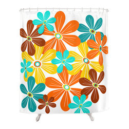 Crash Pad Designs - Crash Pad Designs 50's inspired Shower Curtain - Outfit your bathroom with this playful shower curtain for a pop of color. Floral design is printed on machine washable woven polyester, which features 12-stitched button holes for hanging. liner and rings are not included.