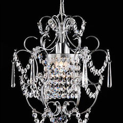None - Chrome Crystal Chandelier - Add elegance to your dining room with this sophisticated chrome crystal chandelier. The light sparkles like diamonds through the clear crystals and crystal fleur de lis. The chandelier hangs perfectly to provide ambience to any dinner party.