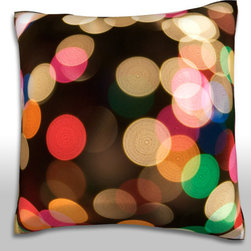 Custom Photo Factory - Blurred Christmas Lights Pillow  Polyester Velour Throw Pillow - Blurred Christmas Lights Pillow 18 Inches x 18  Inches.  Made in Los Angeles, CA, Set includes: One (1) pillow. Pattern: Full color dye sublimation art print. Cover closure: Concealed zipper. Cover materials: 100-percent polyester velour. Fill materials: Non-allergenic 100-percent polyester. Pillow shape: Square. Dimensions: 18.45 inches wide x 18.45 inches long. Care instructions: Machine washable