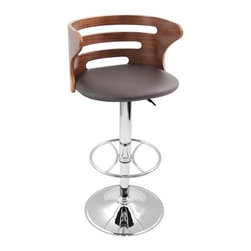 Cosi Bar Stool - Beautiful elegance first comes to mind with the Cosi bar stools. With a wonderful bent wood back complete with slates for a contemporary flair, a comfortable padded leatherette seat, and polished chrome base and footrest the stool is comfortable and stylish. Hydraulic lift lets you adjust the seat height for convenience. Available in a painted Black backrest/shiny Black leatherette seat or a Walnut backrest/Brown leatherette seat (Shown).