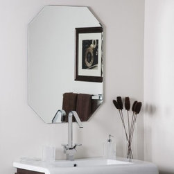 Frameless Dewey Wall Mirror - 23.5W x 31.5H in. - The Frameless Dewey Wall Mirror is just what you need to open up and brighten a room. This sleek octagonal mirror adds a beautiful contemporary element to any wall. Constructed of metal and strong 3/16 glass it features a scallop bevel detail around the border created with a fine precise manufacturing process. Mounting hardware is included with the mirror. Weighs 14 pounds. Dimensions: 31.5L x 23.5W x .5D inches.