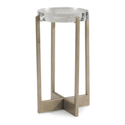Caracole - Caracole Fizz! Table - Every chair needs an accompanying table. The perfect choice to add pizazz and function to a room. A graceful and graphic metal base cradles a statement-making cast glass top.Features a bubble glass topMaterial: Metal