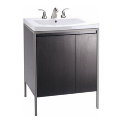 Kohler Persuade Vanity Cabinet - This is a great alternative to a pedestal sink for a powder room if you're looking for just a bit of storage. The legs keep if from being too heavy looking in a small space.