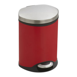 Safco - Step-On Medical - 1.5 Gallon - Red - Make a smooth impression with the Step-On Medical Receptacle. This hands free receptacle has a unique shape allowing it to fit into room corners to help save on valuable space and is fingerprint proof, ensuring it will always look its best. The receptacle features a rigid plastic liner with built-in bag retainer and the lid closes slowly to prevent slamming of the lid and for a more quiet close. Available in Steel, Red or White.