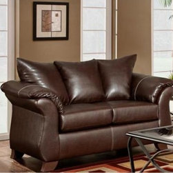 Chelsea Home Payton Leather Loveseat - Taos Mahogany - The perfect complement to a spacious bedroom or featured as the centerpiece to a smaller studio apartment this Chelsea Home Payton Leather Loveseat - Taos Mahogony combines subtle Victorian flair innovative construction and classic leather feel to offer you a maximum level of comfort – no matter its final destination or occasion. Ideal for sitting up to watch television or for thumbing through your smartphone the loveseat's dependable construction starts with a hardwood frame built for longevity and durability. That frame was then covered with stylish dark brown leather upholstery that reaches over every inch of the couch and culminates in curved armrests on both sides. Its cushions were constructed from 1.8 density foam that was combined with 8-gauge sinuous wire springs – forming an optimal mix of comfort and support. Measuring 70 inches across with a spacious 38 inches of depth the loveseat comfortably seats two and provides just enough room for one to sprawl out find a pillow and relax into a well-deserved afternoon nap. About Chelsea Home FurnitureProviding home elegance in upholstery products such as recliners stationary upholstery leather and accent furniture including chairs chaises and benches is the most important part of Chelsea Home Furniture's operations. Bringing high quality classic and traditional designs that remain fresh for generations to customers' homes is no burden but a love for hospitality and home beauty. The majority of Chelsea Home Furniture's products are made in the USA while all are sought after throughout the industry and will remain a staple in home furnishings.