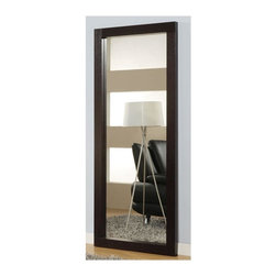 Global Furniture - Vertical Floor Mirror w Wenge Finish Wood Fra - Hardware included. Constructed with MDF. The mirror can be mounted on a wall. 3 in. wide wooden frame. 34 in. W x 80 in. H (110 lbs.)