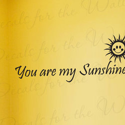 Decals for the Wall - Wall Decal Sticker Quote Vinyl Art Letter You Are My Sunshine Baby's Nursery K40 - This decal says ''You are my sunshine''