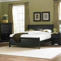 Homelegance - Homelegance Marianne 3 Piece Panel Bedroom Set in Black - The Marianne Collection brings the most popular furniture silhouette together with casual painted white or black finishes to create a great choice for youth and guest bedrooms. We have modified the classic lines of the bed by adding low-profile footboard creating a lighter  more airy feel. The Marianne Collection is the best of both comfortable style and simplicity.