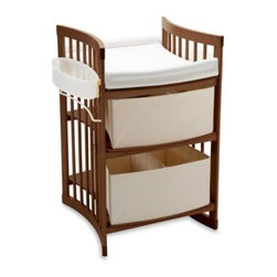 Stokke - Stokke Care Changing Table in Walnut - The Stokke Care changing table is designed to grow with your child. As an infant, it is a highly spacious changing table that allows you to face your child during care while he or she has enough wiggle room.