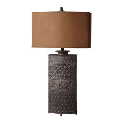 Uttermost Shakia Olive Bronze Table Lamp - Distressed olive bronze with gold highlights. Distressed olive bronze finish over metal with gold highlights. The oval drum shade has straight sides and is a rusty bronze textile.