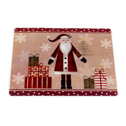"""""""Saint Nick"""" Holiday Place Mat, Set of 4 - Bring the holidays to your table with our """"Saint Nick"""" Placemat. The face of this festive placemat is made with easy-to-clean vinyl, while the underside is lined in slip-resistant foam.  Sold in a set of 4 placemats.     Wipe clean with damp sponge"""