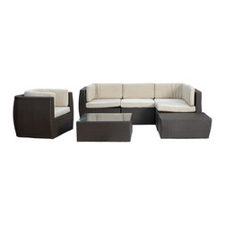 Outdoor Living - Camden Seven-Piece Outdoor Seating Set - Offer up a seat to each and every guest with this deluxe set that boasts crisp lines and neutral hues. Crafted with durable man-made materials, it's sure to withstand harsh weather with ease.   Includes two corner sofas, two armless sofas, bench, single sofa and tea table Weight capacity: 300 lbs. Corner sofa: 36'' W x 36'' H x 28'' D Armless sofa: 28'' W x 36'' H x 29'' D Bench: 28'' W x 36'' H x 14'' D Single sofa: 36'' W x 36'' H x 28'' D Tea table: 36'' W x 36'' H x 28'' D Polyethylene / aluminum / terylene Minimal assembly required Imported