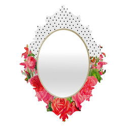 DENY Designs - Allyson Johnson Bold Floral And Dots Baroque Mirror - As we like to say around here, if it ain't baroque, don't hang it! With a sleek mix of baltic birch ply trim that's unique to each piece and a glossy aluminum frame, the baroque mirrors collection bumps your stylish reflection up a notch. Custom made in the USA for every order.