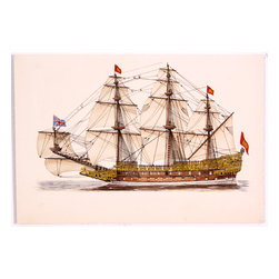 Sovereign of the Seas Original Watercolor Boat Painting - Masterful attention to detail and bright colors characterize this watercolor of the ship Sovereign of the Seas, a 17th-century English warship. Unsigned. Unframed.