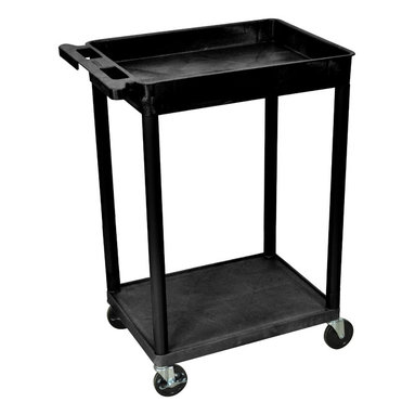 "Luxor - Luxor Tub Cart - STC12-B - These Luxor STC series utility carts are made of high density polyethylene structural foam molded plastic shelves and legs that won't stain, scratch, dent or rust. Features a retaining lip around the back and sides of flat shelves. Includes four heavy duty 4"" casters, two with brake. Has a push handle molded into the top shelf."