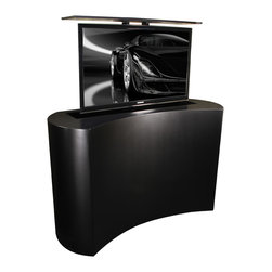 """TV Cabinet Lift Black Satin Coast is US Made by Cabinet Tronix - Black Satin Coast, TV lift cabinet designed by """"Best of Houzz 2014"""" for service Cabinet Tronix. Designer US made furniture perfectly married with premium US made TV lift system."""