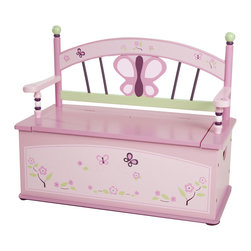 Levels of Discovery - Sugar Plum Bench Seat with Storage - Beautiful bench seat with butterfly and floral motif Slow-closing metal safety hinge Butterfly and floral seat back. Slow-closing metal safety hinge. All products have instructions included for assembly. .