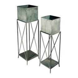 """EttansPalace - 48 """" Tall Decorative Garden Square Planters - Set of 2 - Showcase your greenery in these decorative symphonies of metal! These metal Georgian accent pieces show off your garden greenery with sophisticated style. Available as a set of two for home or garden. Small: 10Wx10Dx42H. 7 lbs. Large: 12Wx12Dx48H. 10 lbs."""