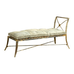 BoBo's Intriguing Objects - Campaign Chaise - This is the perfect piece to have around wherever you're likely to fall into a swoon. As romantic as it is rustic, the iron chaise features a cushion made of reclaimed truck tarp — so it's as unique as you are.