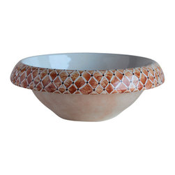 WS Bath Collections - LVT 100 - Trapunta Bathroom Sink - Ceramica by WS Bath Collections 16.1  x 5.9 Above The Counter Bathroom Sink/ Washbasin in Hand Painted and Hand Decorated Ceramic