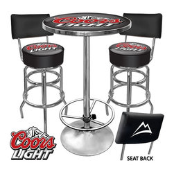 Trademark Global - Ultimate Coors Light Game room Stools w Back - Includes 2 bar stools and a pub table. Made in the USA. Bar stools:. Adjustable levelers. Seat swivels 360°. Commercial grade vinyl seat. Chrome plated double rung base. Padded seat: 14.75 in. Dia. x 7.5 in. W. 30 in. H. Pub table:. Table top is trimmed with Chrome plated banding. Full color reverse side printed logo is protected by the crystal clear acrylic top. 28 in. Dia. x 1 in. thick solid wood. 0.13 in. Scratch resistant UV protective acrylic top. 42 in. H Chrome base with foot restAdd a new dimension of style to your game room with the Ultimate Coors Light Game room Combo! This officially licensed set will bring authenticity, usability and flair to any setting. Two high quality padded bar stools and a Chrome accented pub table will transform your room to create the perfect environment for relaxing, recreation and gaming.