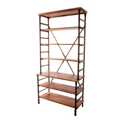 Kathy Kuo Home - Pipe Works Reclaimed Wood Industrial Pipe Tall Bookcase - This stately reclaimed iron and teak bookcase combines upscale details, like curved iron columns and a beveled wood top, with industrial materials. Crisscrossing iron bars provide both stability and visual interest while the rustic richness of the shelves brings warmth to your urban home or office.