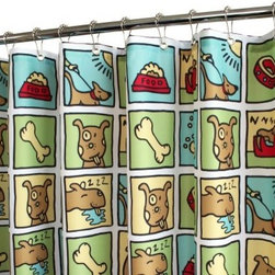 Park B. Smith Watershed Doggy Time Shower Curtain - Show them how much you love your pooch with the Park B Smith Doggy Time Shower Curtain. This colorful shower curtain is made of quick-drying, machine-washable polyester fabric that is resistant to mold and allergies, needs no liner, has small grommets at the top, and features a weighted bottom to keep it in place.