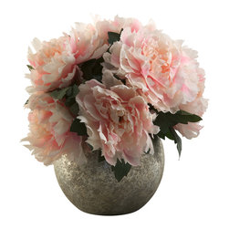 D&W Silks - D&W Silks Pink Peony Bouquet In Silver Ball Planter - Pink Peonies with Green Leaf Foliage
