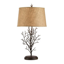 Currey & Company - Midwinter Table Lamp - A natural twig effect is recreated in forged iron; the handcrafted base is accentuated with a coarse textured shade and coordinating finial.