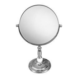 None - Free Standing Victorian Style 5X Magnifying Makeup Mirror - The free standing mirror is perfect to use during makeup application and while plucking eyebrows. It features a metal construction in a chrome finish,Victorian style design and 5X magnification to help you see more detail. Mirror size - 6.7 inch.